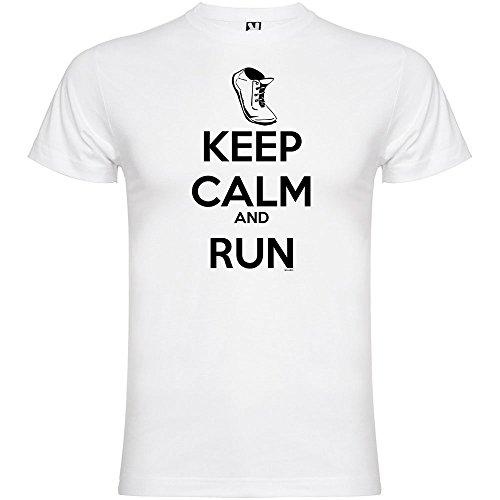 Camiseta Running Keep Calm and Run Manga Corta Hombre Blanco L