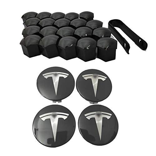 starter 4 PCS Tesla Buje Central del Logotipo de la Rueda, Tapa De Buje Impermeable De Acero Inoxidable con Tapa De 20 Tuercas para Tesla Model S X 3