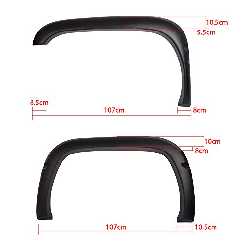 Fender Flares Compatible With 1994-2001 Dodge Ram | Factory Style Black PP Textured Front Rear Right Left Wheel Cover Protector Vent Trim by IKON MOTORSPORTS | 1995 1996 1997 1998 1999 2000