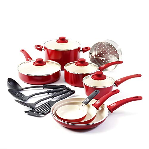 GreenLife Soft Grip 16pc Ceramic Non-Stick Cookware Set, Red