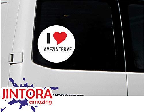 JINTORA - Adesivo/Adesivo Auto I Love Heart - I Love LAMEZIA Terme - JDM/Die Cut/OEM - Lunotto Posteriore - Auto - Portatile - Esterno, Rotondo, Misura: 80mm