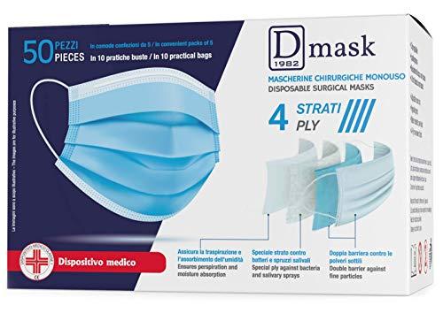 Dulàc - D Mask - Mascherina Chirurgica Monouso - 50 Pezzi - CE - 4 Strati - Clip regolabile - Anallergica e Impermeabile - Dispositivo medico Classe 1 - EN 14683