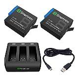 Smatree 2 Batteries avec Chargeur 3 Canaux Compatible avec GoPro Hero 8...