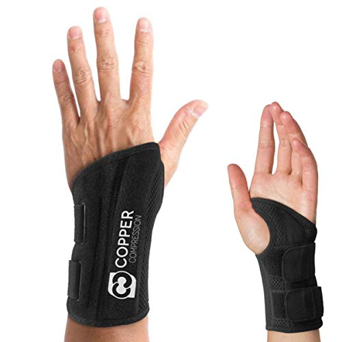 Copper Compression Wrist Brace - Guaranteed Highest Copper Content Support for Wrists, Carpal Tunnel, Arthritis, Tendonitis. Night Day Wrist Splint for Men Women Fit Right Left Hand (Left Hand S-M)