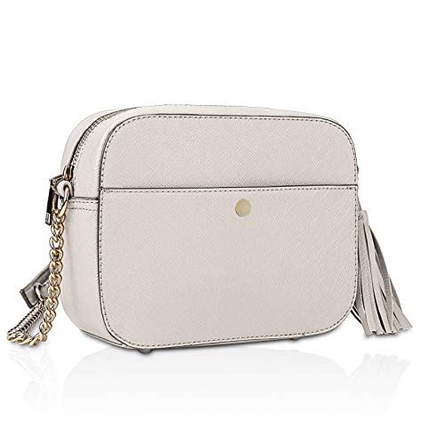 """HIGH QUALITY MATERIAL: This crossbody bag is crafted from supple waterproof environmentally-friendly synthetic leather high quality metal zipper, versatile, compact and surprisingly roomy.It is a striking day-to-evening bag ,can be used as a crossbody bag,shoulder purse,satchel handbags.A sleek choice for every day. PERFECT SIZED WOMEN HANDBAG: Generously sized women shoulder bag in 8.1""""x2.9""""x6.1"""", no-fuss lightweight crossbody bags for women weighs only 0.77lbs. Finished with a secure zip-top closure.PU leather shoulder strap can be adjusted according to own preference (Drop ranges from 24"""" to 21"""").Metal feet base protects your shoulder bag from damage. SURPRISING DESIGN: Smooth leather collides with tassels, a compact handbags with a youthful vibe. The leather lends contrast and volume to the design, while the tassels add a playful touch,small chain at the end of the strap brings a precious touch for evening occasions.The bag's leather strap adjusts to different lengths for a modern, hands-free shoulder or cross-body carry."""