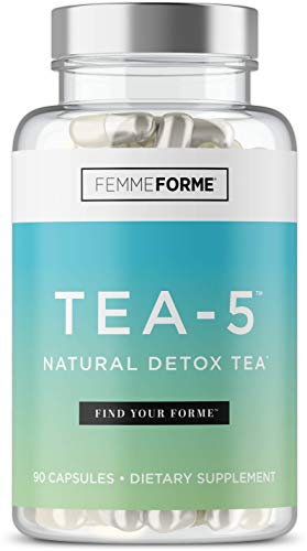 Tea-5 All-Natural Detox Supplement for Women: Herbal Detoxification with Curcuminoids, 5 Types of Tea to Boost Metabolism, Support Natural Energy, and Boost Gut Health, 90 Capsules 1