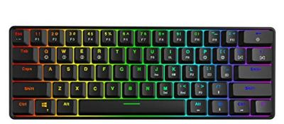 GK61 Hot Swappable Mechanical Gaming Keyboard - 61 Keys Multi Color RGB Illuminated LED Backlit Wired Gaming Keyboard, Waterproof Programmable, for PC/Mac Gamer, Typist (Gateron Optical Brown, White)