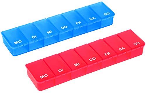 com-four® 2X Medikamentendosierer - Medikamenten-Box für 7 Tage - Pillendose - Tablettendose - Tablettenbox - Wochendosierer zur Aufbewahrung (02 Stück - blau/rot)