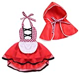 MYRISAM Baby Girls Deluxe Little Red Riding Hood w/Cape Cloak Halloween Fancy Dress Up Costume Storybook Fairy Tale Outfits 3-6 M
