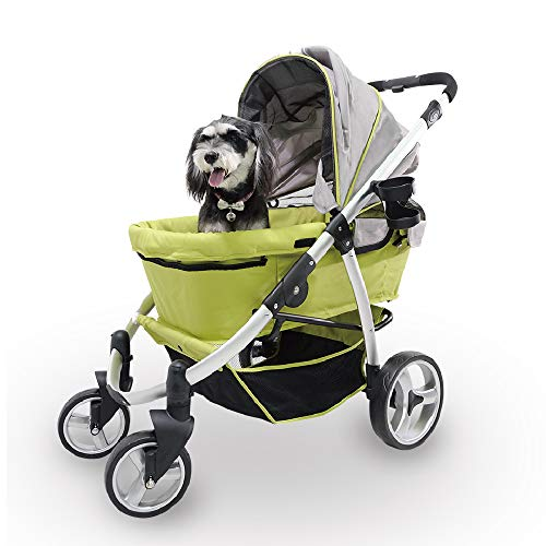 Double Pet Stroller for Medium Dogs, Small Dogs, Cats, Multiple Pets, Apple Green - Heavy-Duty, Large Dog Stroller with Adjustable Handle, 4-Way Foldable Canopy - Premium Pet Travel Accessories