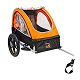 Retrospec Rover Kids Bicycle Trailer Single and Double Passenger Childrens Foldable Tow Behind Bike Trailer with 16' Wheels, CPSC Approved Safety reflectors, and Rear Storage Compartment