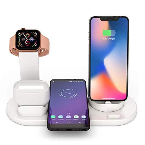 Stazione di Ricarica Wireless 4 in 1 Qi Compatibile con Samsung iPhone X XS XR Max 8 Plus ,Supporto Caricabatterie Wireless Compatibile con AirPods, Apple Watch iWatch Titolare 4 3 2 1 (Bianco)
