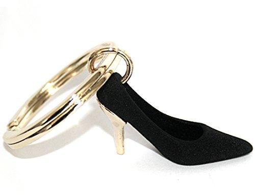 Porte-clés avec breloque 3D en forme d'escarpin à haut talon doré et noir, sur le thème du shopping. Beau porte-clés avec escarpin à haut talon noir et doré