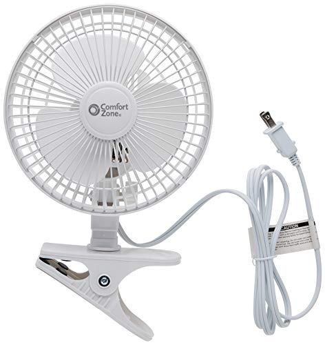 Comfort Zone CZ6C 6-Inch 2-Speed Clip-On Fan (White, 2 Fans)