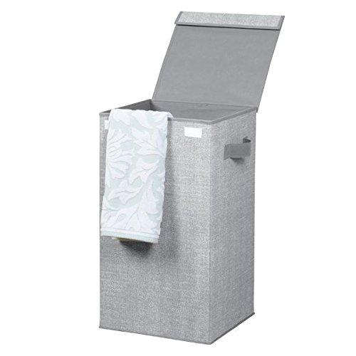 mDesign Wäschekorb mit Deckel grau – Faltbarer Wäschesack – Idealer Wäschesammler zum Reisen – Wäschetruhe Kunststoff
