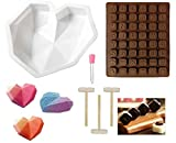 Heart Shaped Chocolate Mold Diamond Heart Mousse Cake Mold Trays Silicone Chocolate Dessert Baking Pan Santa Letters/Numbers DIY Candy Mold Wooden Hammers for Cake Decoration