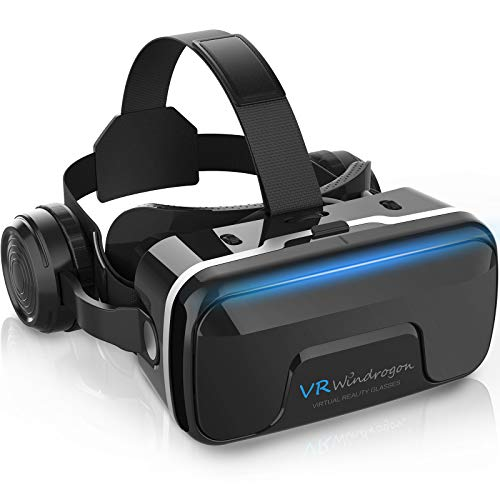 VR Headset, WinDrogon VR Goggles 3D Virtual Reality Headset VR Glasses Compatible with 4.7-6.5 Inch Smartphones with Good Heat Dissipation 120° Viewing Angle Eye Protection Optical Aspherical Lens