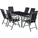 TecTake Salon de Jardin en Aluminium, 6 Chaises et 1 Table en Verre, Ensemble...