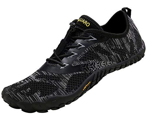 SAGUARO Barefoot Trail Running Shoes Womens Mens Minimalist Outdoor Hiking Walking Climbing Shoes Indoor Gym Fitness Trainers Quick Drying Water Shoes, Black, 10.5 UK