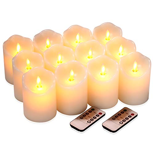 Flameless Candles Flickering Battery Operated LED Candles Set of 12 (D:3' X H:4') Ivory Real Wax Pillar with Moving Flame & 10-Key Remote Control and Cycling 24 Hours Timer