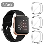 (3 Pack) Orzero Compatible for Fitbit Versa 2 Screen Protector Case Full Body Cover Scratch Resistant Shock Absorbing Ultra Slim Protective - Clear