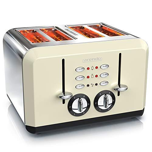 Arendo - Tostapane automatico a 4 fette - Acciaio inox - fino a 4 Toast farciti - 6 Livelli di...
