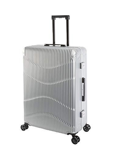 Travelhouse - NY Wave - Großer Reise-Koffer, Polycarbonat Hartschalenkoffer, L-75 cm, Design-TSA-Nummernschlösser, Alu-Rahmen, Silber