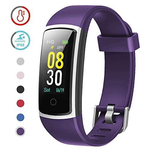 YAMAY Fitness Tracker with Blood Pressure Monitor Heart Rate Monitor Watch,IP68 Waterproof Activity Tracker 14 Modes Smart Watch with Step Counter Sleep Tracker,Fitness Watch for Women Men (Purple)