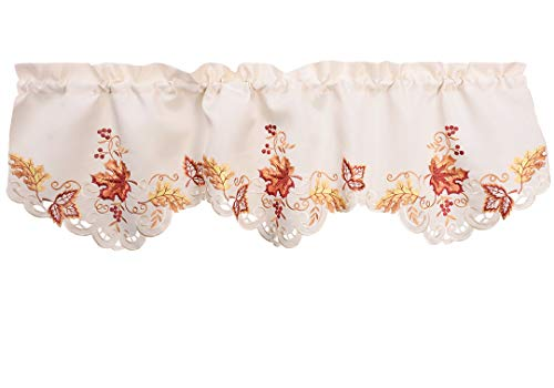 Grelucgo Elegant Thanksgiving Vacation Embroidered Maple Leaves Window Curtains Valance Fall Autumn Decorations 59 X 18 Inch