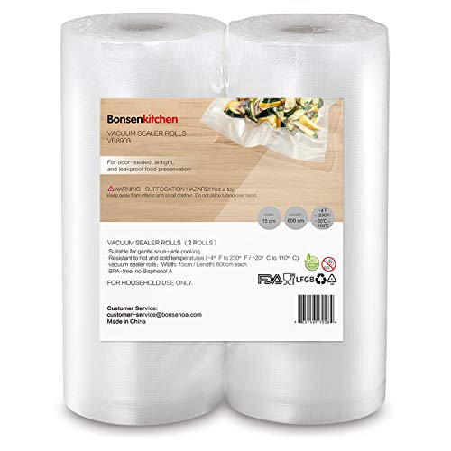 Bonsenkitchen Sacchetti Goffrati per Sottovuoto BPA Free Quart Formato standard 20 x 30 cm per conservazione alimenti e cottura Sous Vide, 100 sacchetti, VB3812