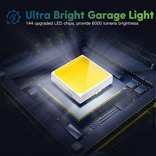 2-Pack LED Garage Light, 60W LED Shop Light with E26/E27 Medium Base, 6000LM Triple LED Garage Lighting, 6500K Screw in LED Tri Light for Attic, Basement 15