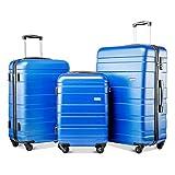 YINKUU Juego de 3 maletas de viaje de peso ligero, rígido, 4 ruedas, 20/24/28 pulgadas (azul)