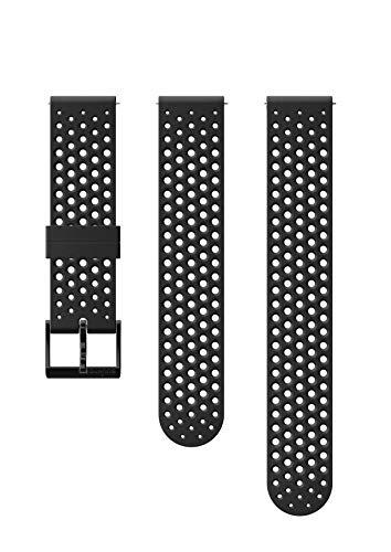 Suunto Ersatz-Uhrenarmband, für alle Suunto 3 Fitness Uhren, Silikon, Länge: 21,7 cm, Stegbreite: 20 mm, Schwarz/Schwarz, Inkl. Stifte zur Montage, SS050177000