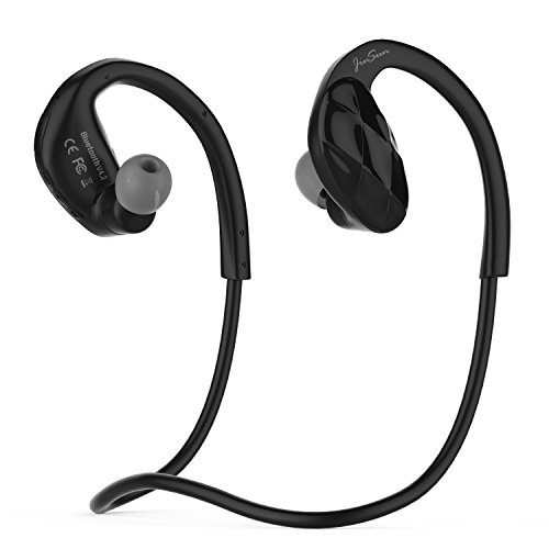 JinSun Bluetooth 4.2 Headset Ultra-Light Wireless Sport MP3 Headphones with MIC and Volume Control, Built-in 8GB Memory, Sweatproof Running Stereo Earphones for Bluetooth Devices