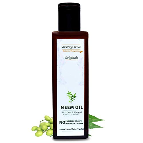 Mystiq Living Originals - Neem Oil, 220ML | For Hair, Skin And Body Care | Cold Pressed, 100% Pure And Natural