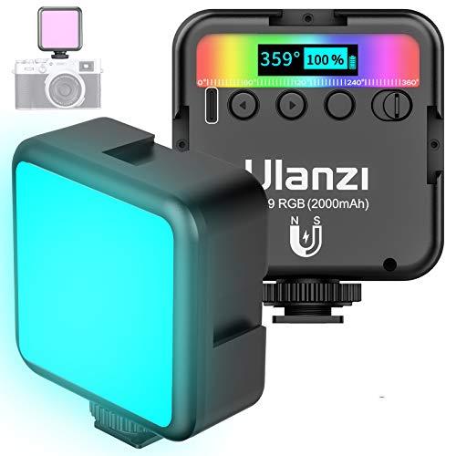 VIJIM RGB LED sulla Luce Video Della Fotocamera con 3 Ganasce Fredde,Mini Luce LED Ricaricabile da 2000mAh Aggiornata,Lampada Fotografica Professionale Dimmerabile CRI95 9000K per le Riprese di Vlog