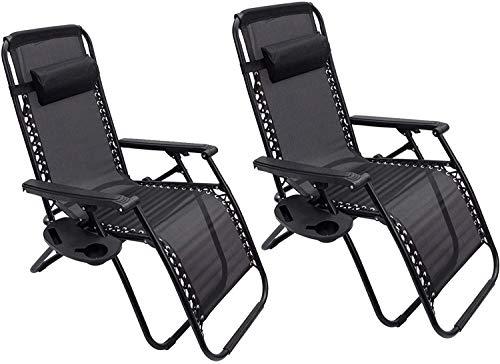2 x Liegestuhl | Verstellbar Kopfpolster Schwerelosigkeit Oxford Stahl Fußschoner | Garten Liege Hochlehner Gartenstuhl Schwarz (Modell 4)