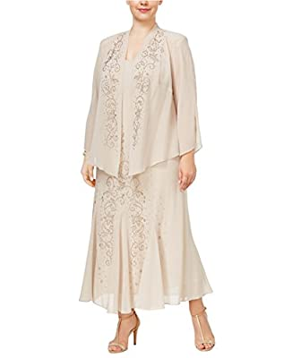 RUNS LARGE- ORDER ONE SIZE DOWN Hits just above ankle. Fully lined - 100% polyester. Jacket: open-front, sheer, three-quarter sleeves, beading at front Beading at front of dress. Slightly fitted bodice with godet pleats at skirt Occasion: Mother of t...