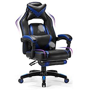 Comfortable Ergonomic Reclining Gaming Chair: Forget about uncomfortable racing Chairs that make it impossible to concentrate on your work. Ultra High backrest, extendable footrest for sleeping, soft PU Leather with breathing hole prevents sweating, ...