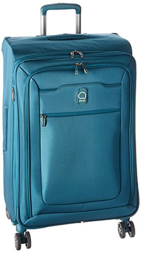 DELSEY Paris Hyperglide Softside Expandable Luggage with Spinner Wheels, Teal Blue, Checked-Medium 25 Inch