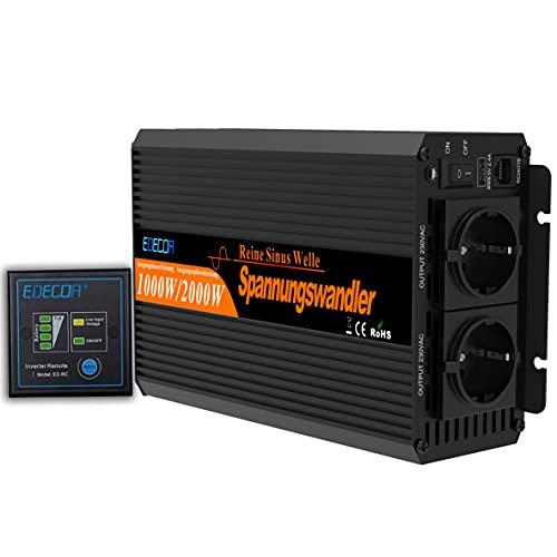 EDECOA Convertisseur 12v 220v Onduleur 1000w Pur Sinus Télécommande USB Système d'isolement SPMW...