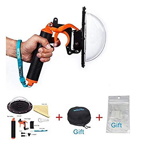 TELESIN, cupola e accessori per fotografie subacquee per Gopro Hero4/3+/3 , Orange, Dome port +Trigger +Bag Kit