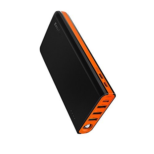 20000mAh Power Bank EasyAcc MegaCharge D20, USB C Quick Charge Portable Charger 5A Doubin Dual Input External Battery Charger for iPhone, Samsung, Nintendo Switch, MacBook and More - Black & Orange
