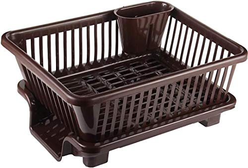 AHYRA 3 in 1 Large Durable Plastic Kitchen Sink Dish Rack Drainer Drying Rack Washing Basket with...