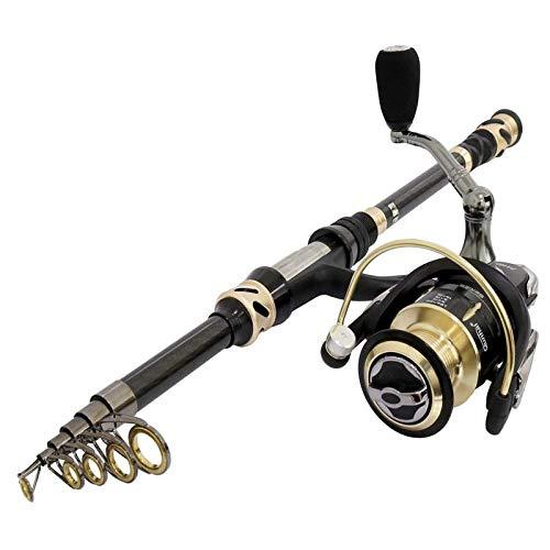 PLBB3K Canna da Pesca Portatile in Fibra di Carbonio del 99% telescopica Canna da Pesca Combo Viaggi di Pesca Combo Asta di Acqua salata Barca Sea Rod-3.6m .Canna da pescatura (Size : 3.6m Rod Combo)