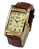 British design Vintage retro styling with gold plated case Precision Japanese Quartz movement Stitched soft padded leather brown strap 245mm long incl. buckle Case size Incl. lugs Large 48mm x 30mm