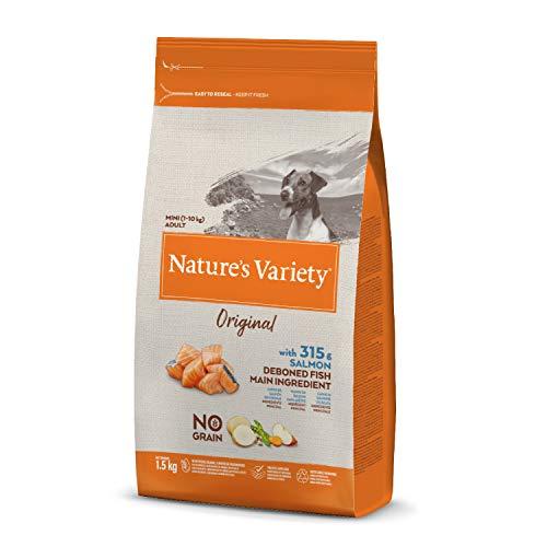 Nature's Variety Original No Grain - Pienso para perros adultos mini con salmón sin espinas 1,5 Kg