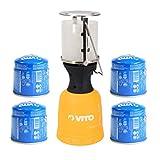 Lampe à gaz VITO + 4 Cartouches gaz 190gr Lanterne pour bouteille camping gaz...