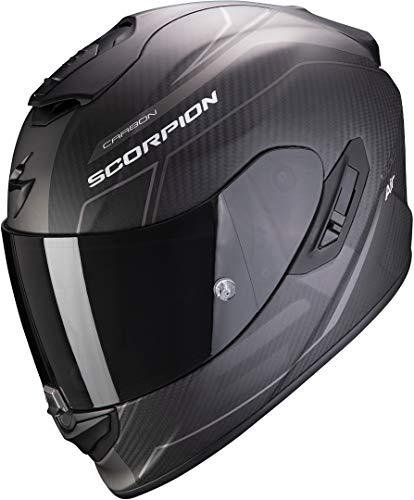 SCORPION Casque moto EXO-1400 AIR CARBON BEAUX Matt Black-Silver, Noir/Gris, S
