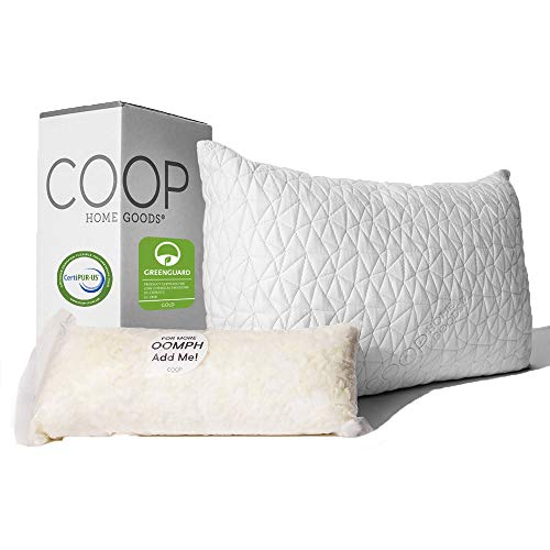 Coop Home Goods - Premium Adjustable Loft Pillow - Hypoallergenic Cross-Cut Memory Foam Fill - Lulltra Washable...